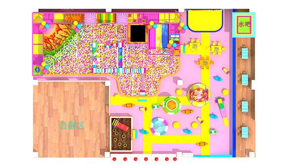 淘气堡投资400平方案二俯视图